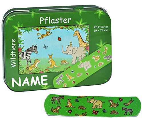 20 Pflaster mit Wildtiere incl. Name - Motiv in Metall Box - Pflasterbox Dose bunt Kinderpflaster Giraffe Affe Tiger Zootiere Elefant - für Kinder und Erwachsene Mädchen Jungen