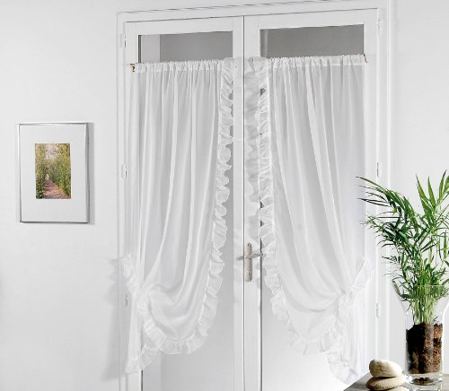 Linder 0110 /10/501 Paire de Bonne Femme Voile Plein Jour Blanc Passe Tringle 95 x 150 cm