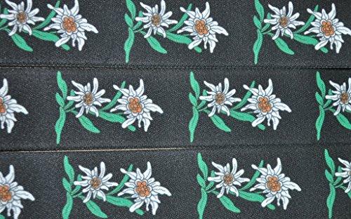 Trachten Hosenträger mit Edelweiss für Knöpfe Rot, Grün, Blau, Schwarz -105 (Schwarz) - 2