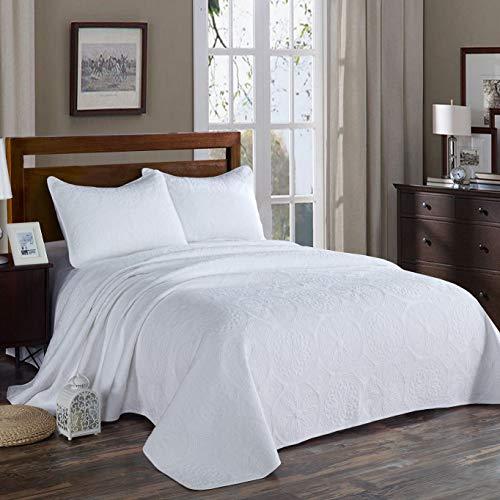 Unimall 4394089 Tagesdecke Baumwolle Bettüberwurf Set gesteppt mit Weiß Blumen für Doppelbett 250x270 cm - Weiße Gesteppte