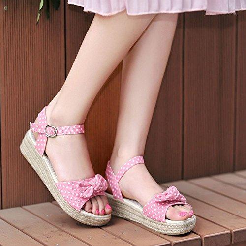 COOLCEPT Femme Mode Sangle de Cheville Sandales Bout Ouvert Chaussures Avec Bow Rose