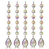 H & D 5 Stück Fengshui Sonnenfänger Schmetterling Kristall Anhänger Regenbogen Maker Kronleuchter Prism für Weihnachten Party, Glas, Loquat