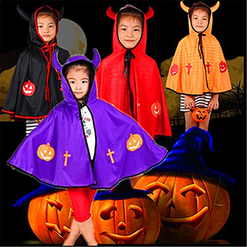 AAAHOMEEU 5Pcs Halloween Umhang Kinder Leistung Leistung Dämon Horn Umhang Umhang Cosplay Kosten Requisiten Lieferungen