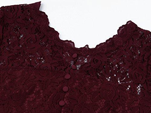 Angerella Femmes Retro Floral Lace Cap Sleeve Robe De Soiree Vintage Vin Rouge
