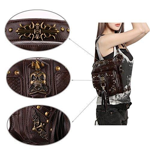 Cestlafit Frauen Herren Leder Steampunk Tasche Vintage Schulter Steampunk Handtasche Gothic Taille Packs Bein Tasche, Kreuz Krawatte & Dual Chambers, CFB004-7 CFB004-5