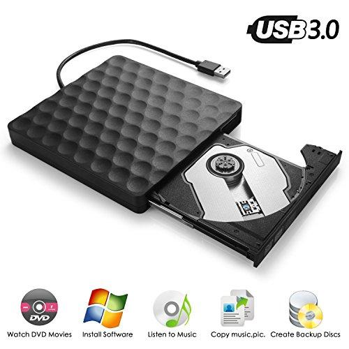 Externes DVD Laufwerk( Umfassendes Upgrade ), InThoor USB3.0 DVD-RW DVD/CD Brenner Slim extern Laufwerk Portable(tragbar) DVD CD Brenner für Windows 2000/XP/Vista/7/8/8.1/10, Mac OS, Apple Macbook / Laptops / Desktop ( Schwarz )