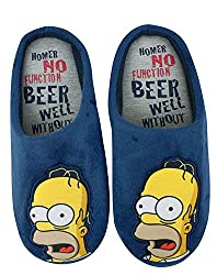 The Simpsons Homer Simpson Mens Mule Slippers Blue Medium