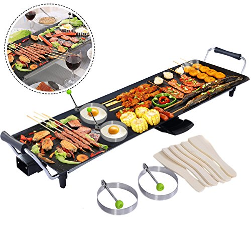 COSTWAY Electric XXL Teppanyaki Table Grill, 90x23CM Non-Stick Griddle with Adjustable Temperature, BBQ Hot Plate Barbecue - Spatulas and 2 Rings Include for Indoor Outdoor