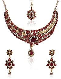 Party Wear Choker Kundan Jewellery Set / Necklace Set With Maang Tikka And Earrings For Girls / Women By Shining...