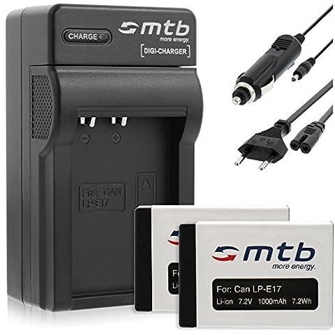 2x Batteries 1000mAh + Chargeur (Auto/Secteur) pour Canon LP-E17 /