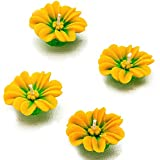 Aapno Rajasthan Yellow Flower Wax Candle Diyas- Set Of 4 For Diwali