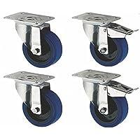 Coldene Castors Lot de 4 roulettes en caoutchouc avec toutes les fixations Diamètre de roue 125mm Bleu