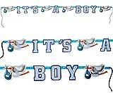 Unbekannt 1 Stück _ Girlande  It´s a Boy / es ist EIN Junge  - incl. Name - zur Geburt / Baby - Wimpelkette - Kinder / Partykette - Party - Neugeboren - Klapperstorch..
