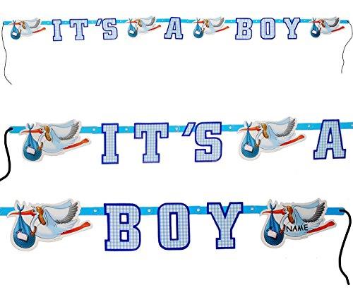 1 Stück _ Girlande  It´s a Boy / es ist EIN Junge  – incl. Name – zur Geburt / Baby – Wimpelkette – Kinder / Partykette – Party – Neugeboren – Klapperstorch..