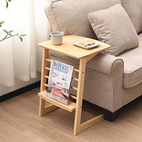 Tische CJC Tabellen Beistelltisch Tabelle Beenden Bedside Sofa Kaffetisch, Gummiholz Lager Einheit, Zeitungen Bücher (Farbe : Wooden Color) - Einheit Beenden