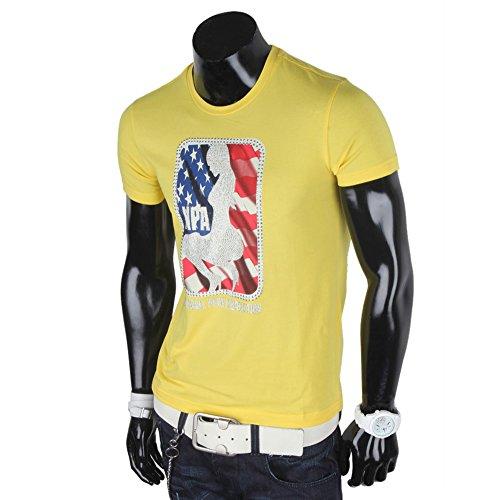 Redbridge Herren T-Shirt Slim fit Shirt Frontprint Nieten USA Gelb
