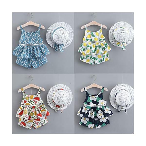 Trisee Chicas Trajes de Verano Trajes Florales para bebés Honda Camisetas sin Mangas sin Mangas, Pantalones y Conjunto… 2