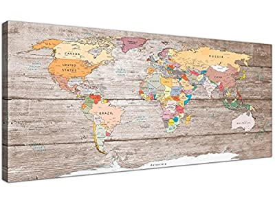 Large Decorative Map of World Atlas Canvas Wall Art Print - Modern 120cm Wide - 1326 Wallfillers - low-cost UK light store.
