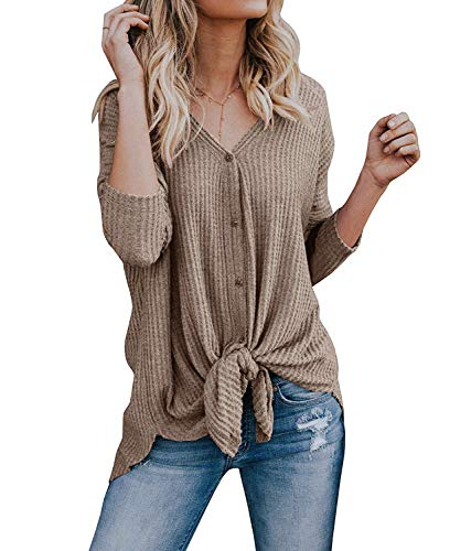 Bequemer laden camicette a maglia manica lunga con bottoni scollo a v camicie a tunica asimmetrica per le donne khaki l