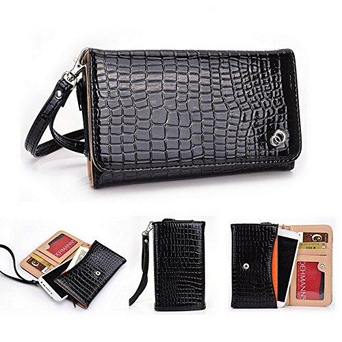 Kroo Croc Universal Smartphone Wristlet Wallet Fall für Oppo Spiegel 3/Find 5Mini Mobile schwarz schwarz