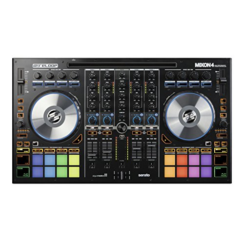 Reloop Mixon 4 – 4-Kanal USB DJ Controller mit 16 RGB-Performance-Drumpads, Jogwheels und integrierter Soundkarte, Plug and Play mit Serato DJ und Algoriddim Djay Pro, Hybrid Technologie für Android- und iOS-Geräte, (schwarz)