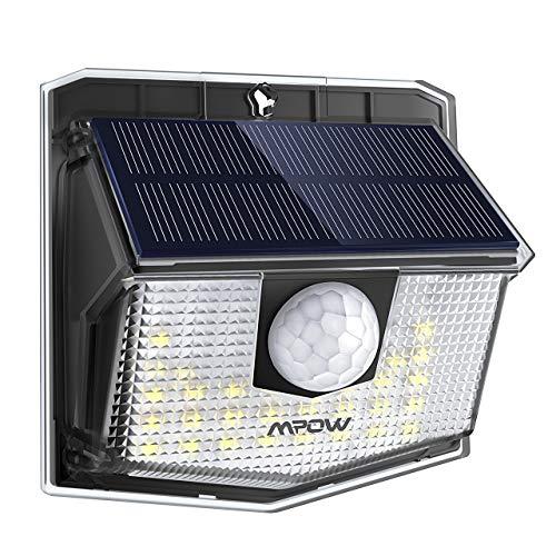 Mpow Lámpara Solar, 30 LED Luz Solar de Exterior, Ángulo de Iluminación de 270°, PIR Sensor de Movimiento, Impermeable IP65, Fácil de Instalar, Luz Blanca para Jardín, Garaje, Terraza, Patio