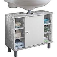 WILMES 85002-57 0 75 Badmöbel, Waschbecken Unterschrank, Badezimmerunterschrank, Unterschrank Holz, Beton / Weiß Melamin Dekor, 32 x 60 x 54 cm