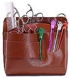 Grande pochette à ciseaux pour coiffeur avec ceinture, Sac à outils pour salon de coiffure, Cuir véritable – Marron.