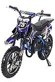 Actionbikes Motors Mini Kinder Crossbike Gepard 49 cc - Scheibenbremsen - Sportluftfilter - Sportauspuff - Luftbereifung (Blau)