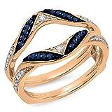 DazzlingRock Collection Damen 14K Gold Runder Blauer Saphir & Weiss Diamant Ehering Schützen Doppel-Ring 4