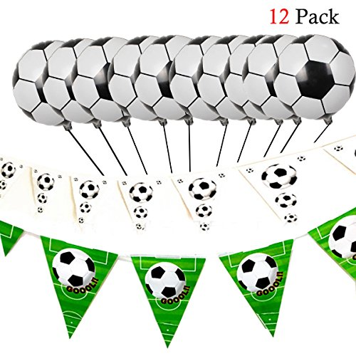 allon Set 12 / Set Fußball Alu 10 / Fussball Set schwarz und weiß 1 / Set Fußball Wimpel schwarz/weiß grün 1 / Set für die Dekoration von Hochzeitstag/Geburtstag / Party/Abend ()