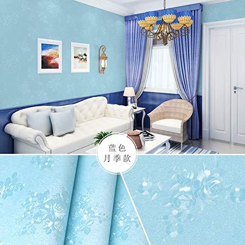 Semplice e moderno TV soggiorno carta da parati autoadesivo camera da letto profonda carta da parati in rilievo di seta ispessimento impermeabile autoadesivo rosa in rilievo blu
