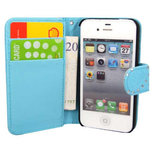 GSDSTYLEYOURMOBILE {TM} APPLE IPHONE 5 5S VARIOUS DESIGN CARD POCKET HOLDER PU LEATHER BOOK FLIP CASE COVER POUCH + STYLUS Sky Blue Diamond Book