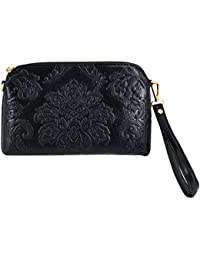 Felice Womens Premium Embossed Leather Clutch Handbag Multicompartment Card Slot Smartphone Wallet Cross Body...