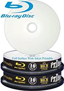 TWIN-PAK RITEK Pidata Blu-ray Disc - 2x10-pack x BD-R - 25 GB 4x - white - ink jet printable surface, printable inner hub - storage media cake tub 2-cake boxes 10 (total 20 discs) - **New Improved Dye and may require latest firmware updating on your writer**