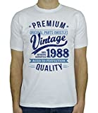 My Generation Gifts 1988 Vintage Year - Aged to Perfection - 30. Geburtstag Geschenk T-Shirt für Herren Weiß Blau L