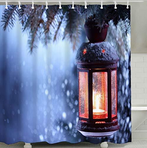 Azzxzona tende da bagno in tessuto di poliestere pieno luci natalizie tenda da doccia con stampa foresta impermeabile muffa decorazione della casa dell'hotel partizione 180x180 cm 12 ganci