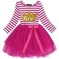 OBEEII Bambine Ragazze Costume Compleanno Neonato Stripes Pattern Stampa  Maglia Tulle Vestito Principessa Tutu Gonna per 115a01e35f2
