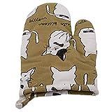 kemai verdicken Mikrowelle Handschuhe hitzebeständig Handschuhe Baumwolle Leinen Handschuhe für Küche, Kochen, Backen, Grillen, Grill, braun Katze