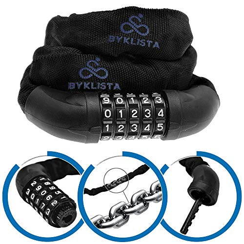 BYKLISTA Candado de Bicicleta Profesional - candado antirrobo con Cadena de Acero 60mm x 100cm con combinación...