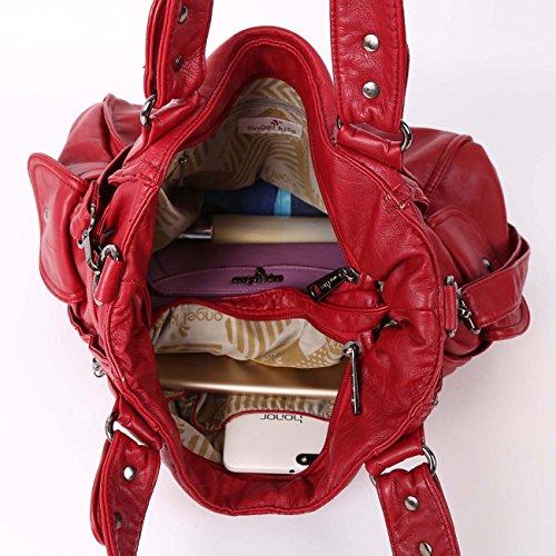 Angelkiss 2 zip più alte tasche borse donna / tasche in lana lavata / borse a tracolla 1193 Rosso