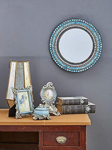 "Quality Glass Round Mosaic Wall Mirror Blue Finish 20""x20"" MZ 7"