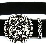 Pera Peris Buckle-Gürtel mit Einem Keltische-Hunde-Motiv aus dem irischen Mittelalter mit Gürtelschlaufe in 4 cm / Hunde - Spaltleder Größe X-Large, Farbe schwarz