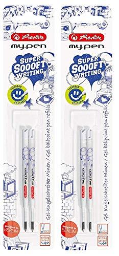 Herlitz 11162419 Gel-Kugelschreiberminen My.Pen, Strichstärke M, blau (2X 2 Stück)