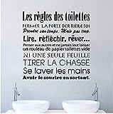 Autocollants de salle de bains Français Règles de Toilette Vinyle Mur Art Stickers,Toilette Wc Affiche Maison Décoration