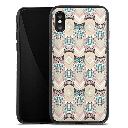 Apple iPhone X Silikon Hülle Case Schutzhülle Eulen Pastell Muster Silikon Case schwarz