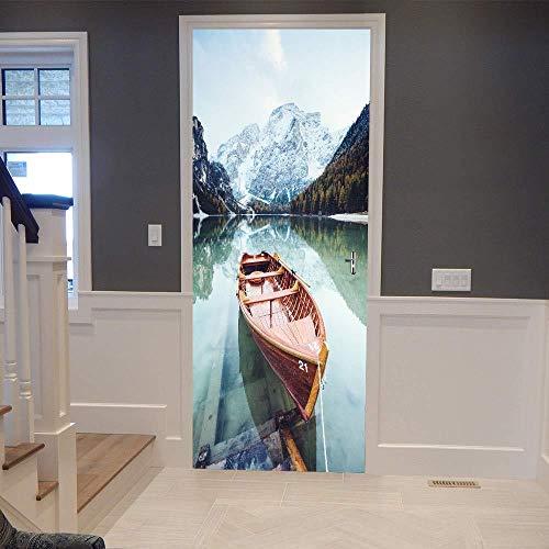 Preisvergleich Produktbild XXXCH 3D Wasser Kanu 77X200 Cm Tür Aufkleber Tür Aufkleber Dekorative Tür Mural Abnehmbare Vinyltür Wand Tapete Dekoration Tapete