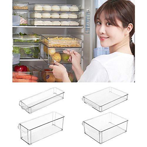 iBaste-home Transparente stapelbare Kunststoff Kühlschrank Aufbewahrungsbox Lebensmittel Lagerplätze mit Griffe-Organizer für Nudeln Gemüse Obst, Küche Aufbewahrungsbox