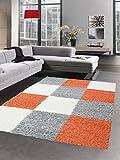 Shaggy Carpet Tapis à Poils Profond Pile Longue Tapis de Salon carpette Karo crème Rouge Gris Terra Orange Größe 160x230 cm