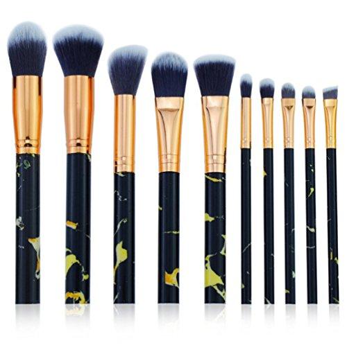 Oyfel Pinceau Maquillage Motif de Marbre Professionnel Synthétiques pour Ombre à Paupière Blush Fondation Highlighter Poudre Fond de Teint Anti-cerne 10 PCS